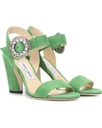 e1bbe8eb2e1251 Lyst - Jimmy Choo Suede Belize 65 Sandals - Save 47%