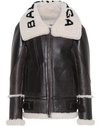 92a719a281915 Balenciaga Shearling-Lined Leather Jacket in Brown - Lyst