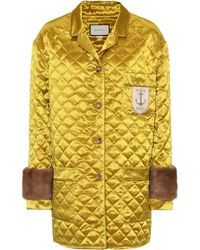 Gucci - Fur-trimmed Quilted Jacket - Lyst