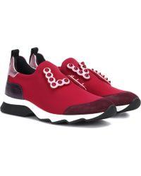 Fendi - Embellished Slip-on Sneakers - Lyst