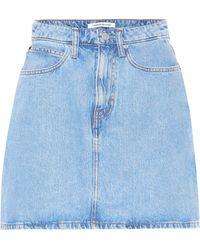 b3db244115e01 Calvin Klein Denim Miniskirt in Red - Lyst
