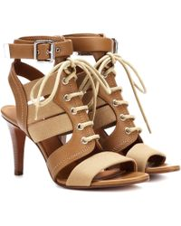 Chloé - Leather And Canvas Sandals - Lyst