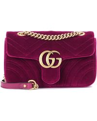 0d8ece56f77d Gucci Gg Marmont Velvet Shoulder Bag in Pink - Lyst