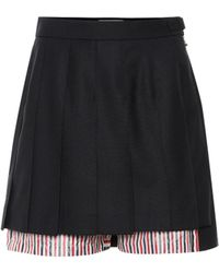 Thom Browne - Wool And Cotton Shorts - Lyst