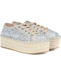 Miu Miu - Glitter Espadrille Sneakers - Lyst