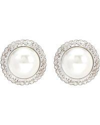 Alessandra Rich - Aretes de clip de perlas artificiales - Lyst