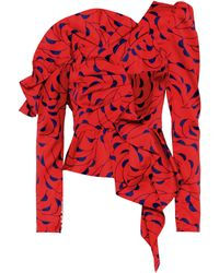 Self-Portrait - Printed Red Frill Top - Lyst