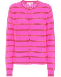 Marc Jacobs - Striped Cashmere Pointelle Cardigan - Lyst