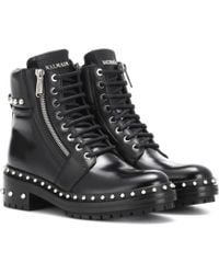 Balmain - Ranger Embellished Leather Ankle Boots - Lyst