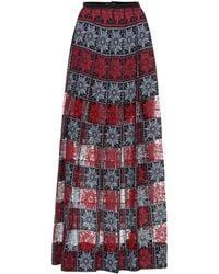 Elie Saab - Embroidered Tulle Maxi Skirt - Lyst