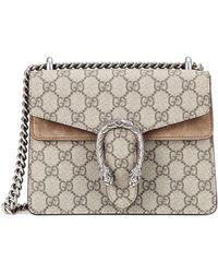 Lyst Gucci Dionysus Gg Supreme Shoulder Bag In Gray
