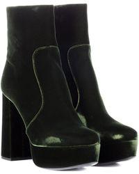 8923c258290 Lyst - Prada Suede Backzip Platform Ankle Boots in Black