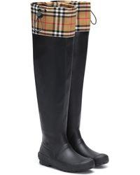 Burberry - Regenstiefel mit Karomuster - Lyst