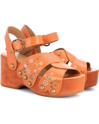 Marc Jacobs - Wildflower Leather Wedges - Lyst