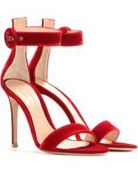 Gianvito Rossi - Velvet Sandals - Lyst