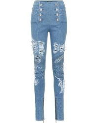 Balmain - High-rise Distressed Jeans - Lyst