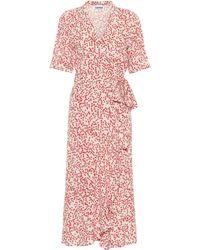 Ganni - Robe portefeuille imprimée - Lyst