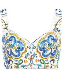 d2c36fa3d0cad Dolce   Gabbana - Cotton-blend Printed Crop Top - Lyst