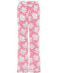 Valentino - Pantaloni a stampa floreale in seta - Lyst