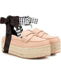 Miu Miu - Leather Platform Loafers - Lyst