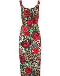 Dolce & Gabbana - Vestido estampado con adornos - Lyst