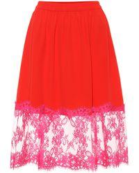 MSGM - Falda de crepé con encaje - Lyst
