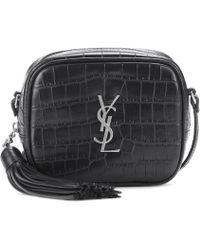 bbbbb54db0a3 Lyst - Saint Laurent Monogram Blogger Leather Shoulder Bag in Black