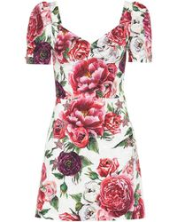 Dolce & Gabbana - Floral Silk-blend Dress - Lyst