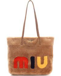 Miu Miu - Suede-trimmed Fur Shopper - Lyst