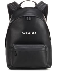 Balenciaga - Black Everyday Logo Leather Backpack - Lyst