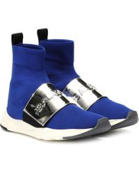 Balmain - Cameron Mesh And Leather Sneakers - Lyst
