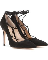 Gianvito Rossi - Femì Lace-up Suede Court Shoes - Lyst