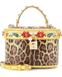 Dolce & Gabbana - Printed Leather Bucket Bag - Lyst