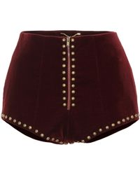 Saint Laurent - Studded Velvet Shorts - Lyst