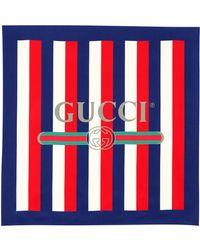 5f7dc994cb2c Gucci Web And Kingsnake Print Wool Scarf Ebony/navy - Lyst