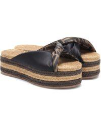 Fendi - Satin Platform Espadrille Sandals - Lyst