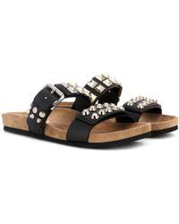 Prada - Embellished Leather Sandals - Lyst