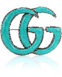 Gucci - Broche de plata y turquesa Doble G - Lyst