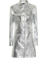 CALVIN KLEIN 205W39NYC - Metallic Leather Shirt Dress - Lyst