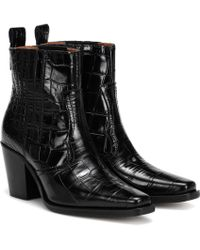 Ganni - Western Embossed Leather Boots - Lyst