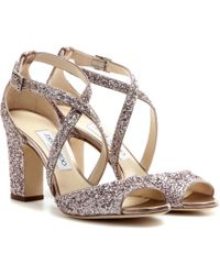 Jimmy Choo - Carrie 85 Glitter Embellished Leather Sandals - Lyst
