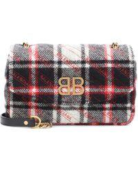 Balenciaga - Chain Round S Plaid Shoulder Bag - Lyst