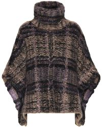 Brunello Cucinelli - Checked Mohair-blend Poncho - Lyst