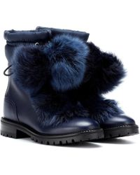 Jimmy Choo Glacie Leather And Fur Boots - Blue
