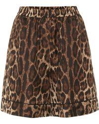 Dolce & Gabbana - Leopard Silk Twill Shorts - Lyst