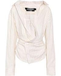 Jacquemus - Asymmetric Linen And Cotton Blouse - Lyst