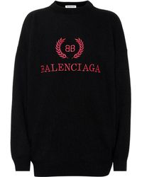Balenciaga Embroidered Wool-blend Jumper - Black