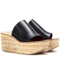 Chloé - Sandalias de cuero y cuña de corcho. - Lyst