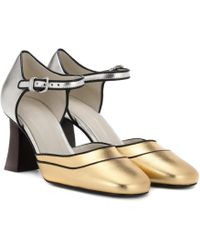 Marni - Metallic Leather Court Shoes - Lyst