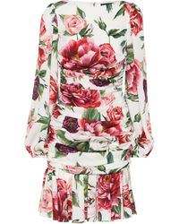 Dolce & Gabbana - Floral-printed Stretch-silk Dress - Lyst